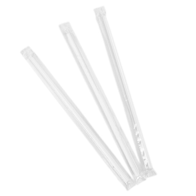 Individually White Plastic Wrapped Flexible Straws 21cm. ซอฟต์ทร้า