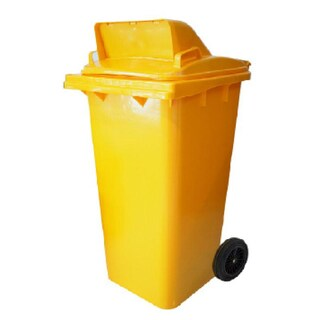 High caster trashcan 1 compartment 120 L. Yellow