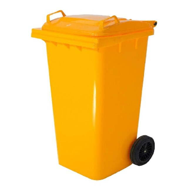 High caster trashcan with flat lid 240 L. Asst.