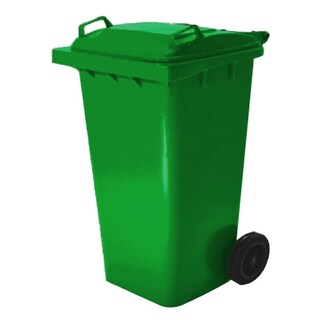 High caster trashcan with flat lid 120 L. Green