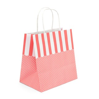 boxjourney 0202005 Paper Bag With Twisted Handle Pink Canopy Awning Design Size L