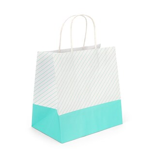 boxjourney 0202006 Paper Bag With Twisted Handle Green Stripe Design Size L
