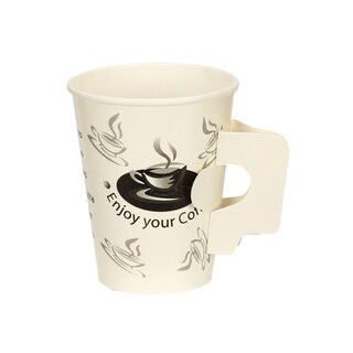 boxjourney 0304132 Printed Paper Cup With Handle 8Oz. Enjoy Coffee