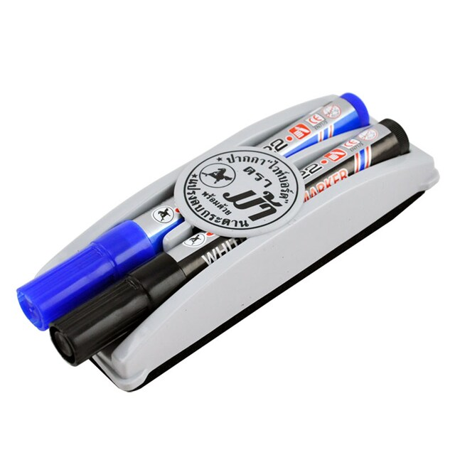 Whiteboard Marker With Eraser (Black-Blue) ตราม้า