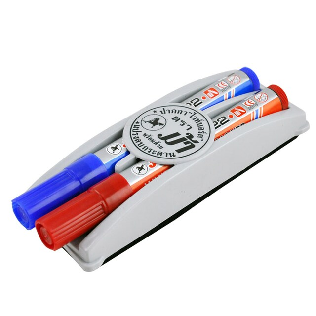 Whiteboard Marker With Eraser Blue-Red ตราม้า