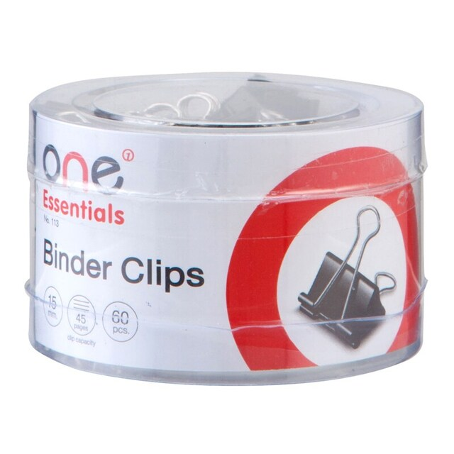 ONE 113 Binder Clip 15 mm. Black 60/Box