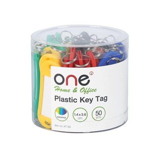 Plastic Key Tag Assorted 50/Pack ONE KT-50