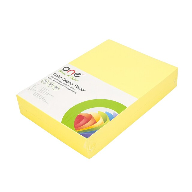 ONE Colour Copier Paper 19 A4 80gsm. Dark Yellow 500Sheets