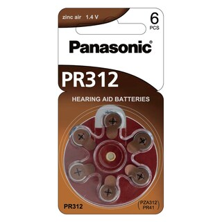 Panasonic PR-312HEP/6C Hearing Aid Battery Brown