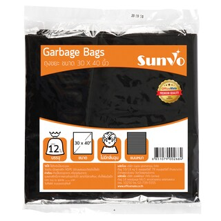 "Garbage Black Bag 30x40"" (12/Pack) ซันโว"