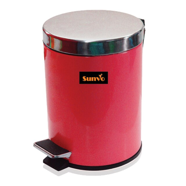 SunVo Stainless Steel Trash Can 12 Liter Red