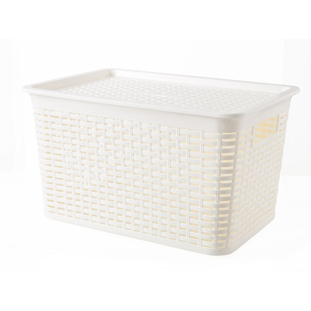Rattan Pattern Plastic Box with Lid White JCJ 3120