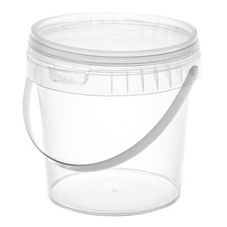 Round Plastic Container with Lid 600ml (25/Pack)