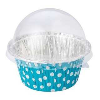 S&S 3003 Foil Cake Cup+Dome Lid 8.4x3.5cm.BL(10/pack) S&S 3003