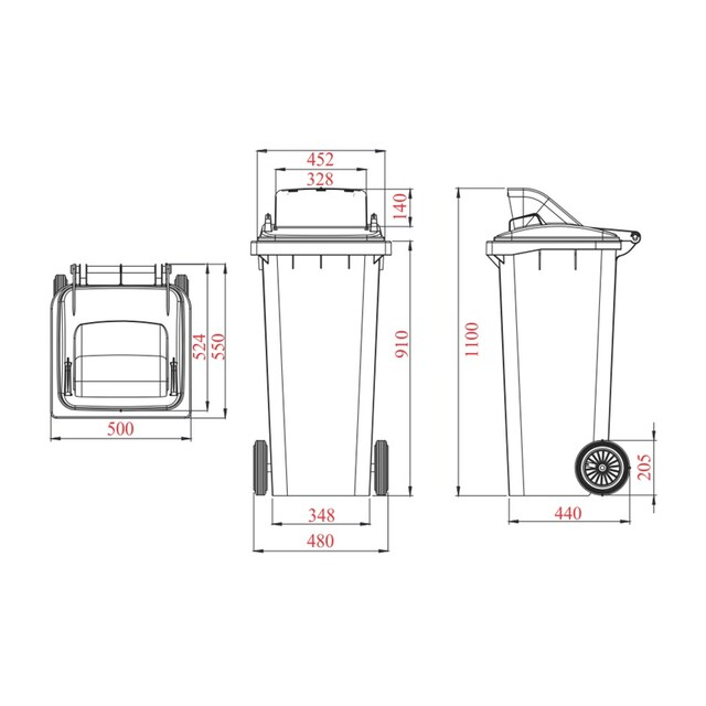 High caster trashcan with flat lid 240 L. Green