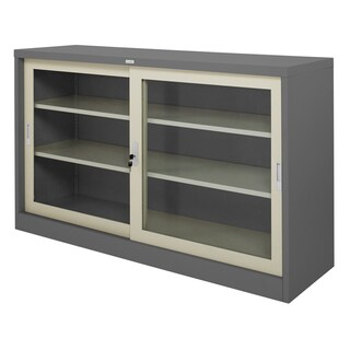 Sliding Glass Door Cabinet Grey Zingular ZDG-325
