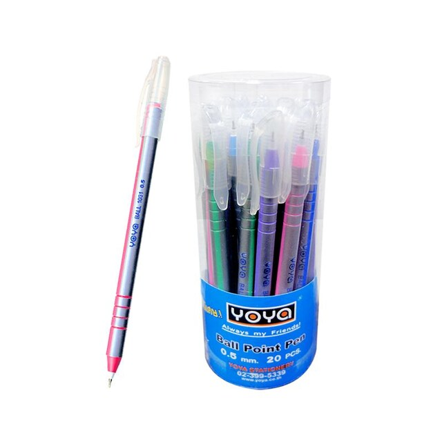YOYA 1031 Ball Point Pen. 0.5mm. Blue Ink. Assorted Colors. (20/Pack)