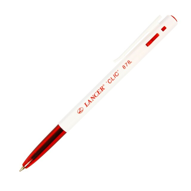 Ball Pen 0.7 mm. Red (50/Pack) Lancer Clic 878