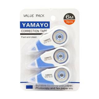 Correction Tape 6 m. White (3/Pack) Yamayo YM-230-3