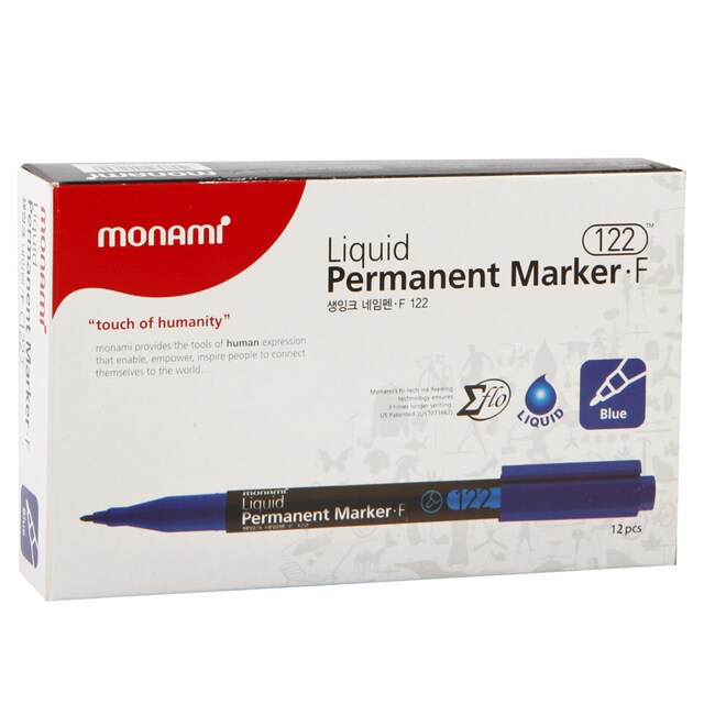 Permanent Marker 1.3 mm. (12/Pack) Blue Monami Liquid F122