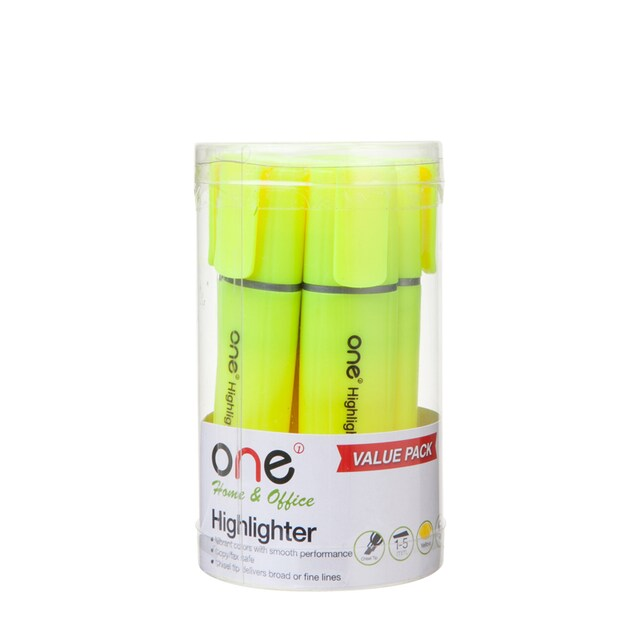 ONE HY254400 Highlighter Yellow 6/Pack