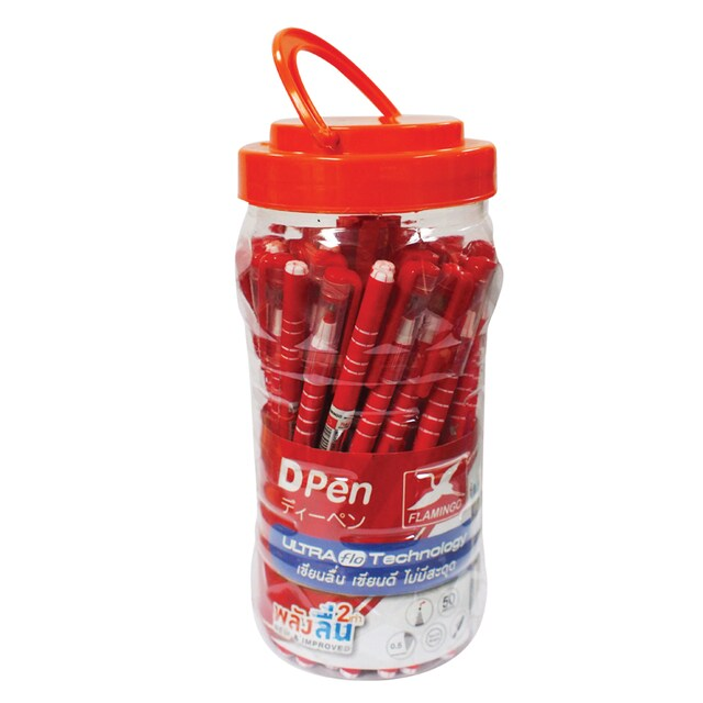 Flamingo D02R Ball Point Pen 0.5 mm. Red 50/Pack