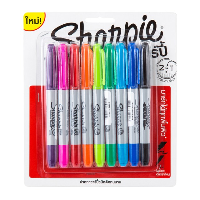 Permanent Marker (9/Pack) Colors. Sharpie Twin Tip