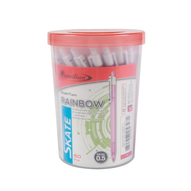 Ball Point Pen 0.5mm. (50/Pack) Red Quantum SKATE RAINBOW