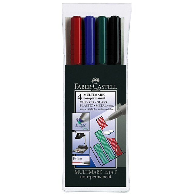 Faber-Castell OHP Pen. 0.6mm. Assorted Colors Ink. 4 Pcs/Pack
