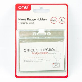 ONE 21405802 Card Holder Horizontal 8.5x5.5 cm. Pack/6 Clear