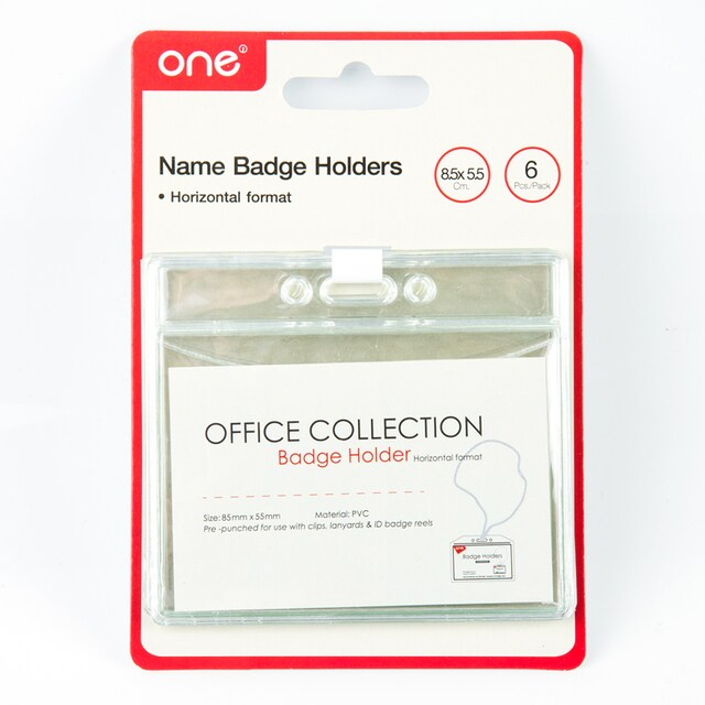 ONE 21405802 Card Holder Horizontal 8.5x5.5 cm. Clear 6/Pack