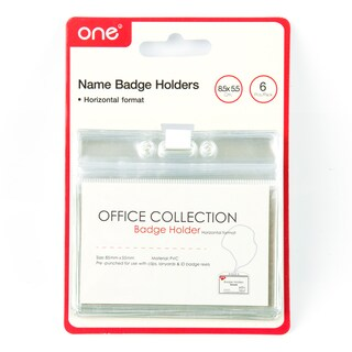 ONE 21401802 Card Holder With Horizontal 8.5x5.5 cm. Pack/6 Clear