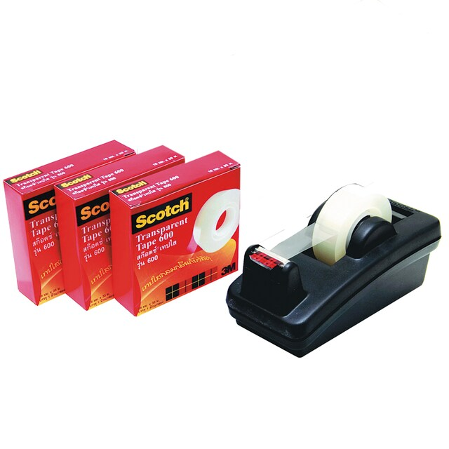"Transparent Tape 3/4""x36 y. (3/Pack)+Stand Scotch 600"