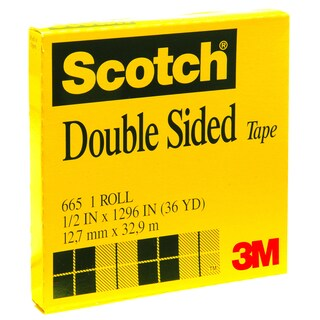 """Double Sided Tape 3"""" Core 1/2""""x36 y. Scotch 665"""