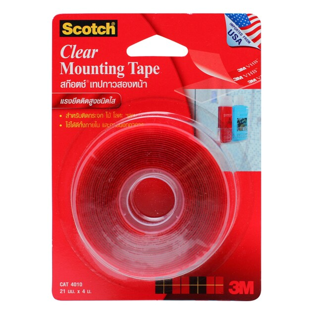 Double Coaed Tissue Tape 21 mm.x4 m. Clear
