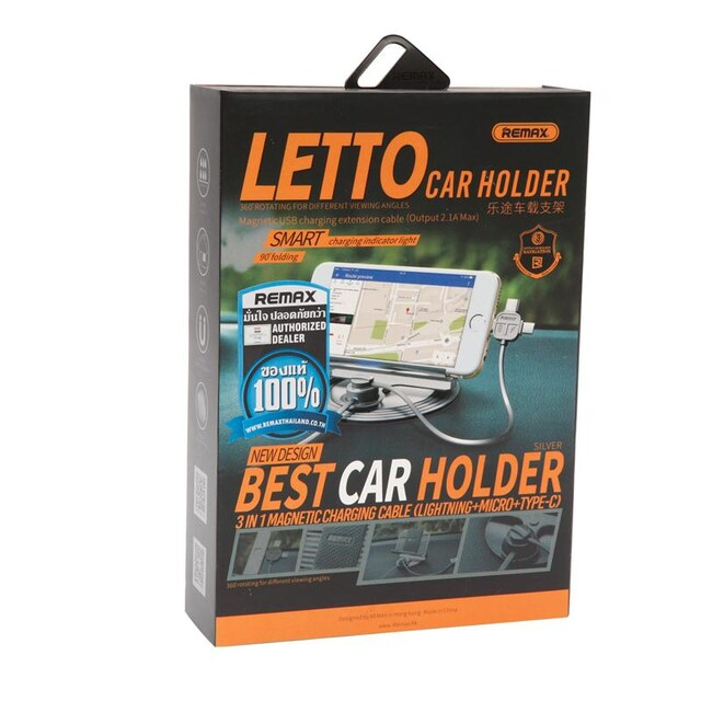 Remax LETTO Car Holder IP/A/Type-C Silver