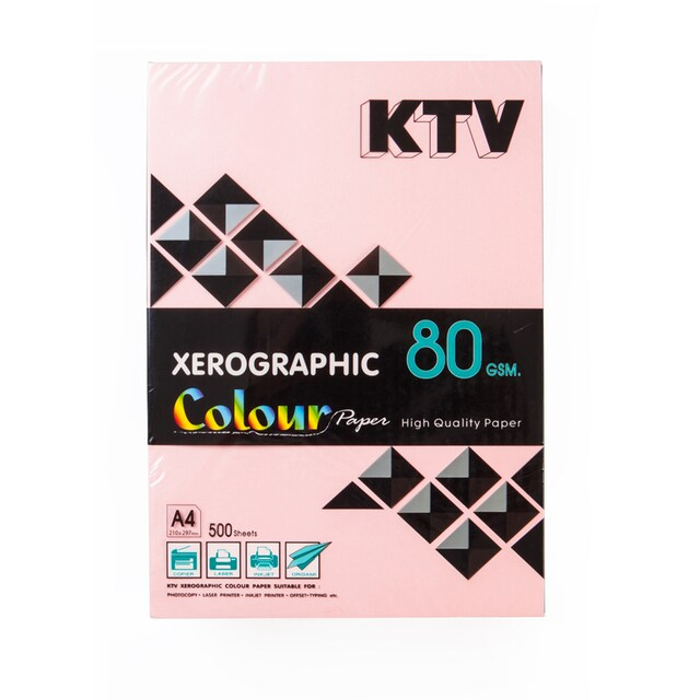 KTV Color Copier Paper A4 80 gsm. Pink 500/Pack