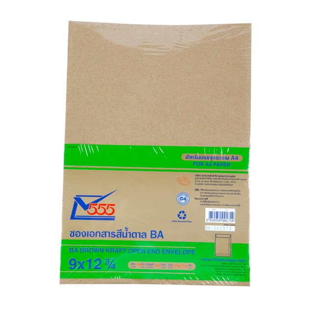 "BA Brawn Kraft Open-End Envelope 9x12-3/4"" (100/Pack) 555"