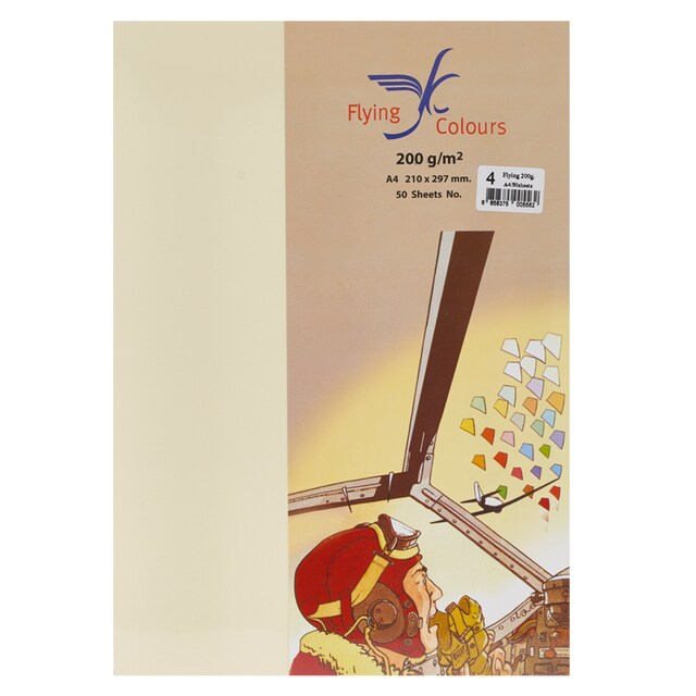Flying #04 04 Colour Card Paper A4 200gsm. Cream 50/Pack