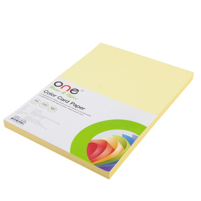 Colour Card Paper A4 120 gsm. Yellow (100/Pack) ONE