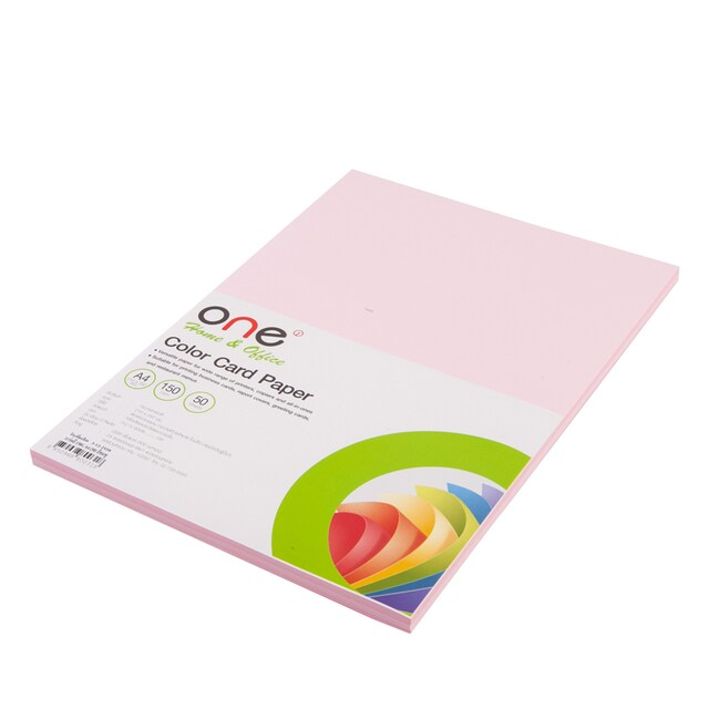 Colour Card Paper A4 150 gsm. Pink (50/Pack) ONE