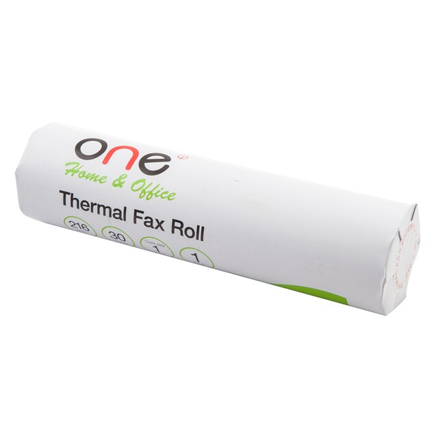 Thermal Fax Roll 216mm.x30yards 58gsm. (1inch core) ONE