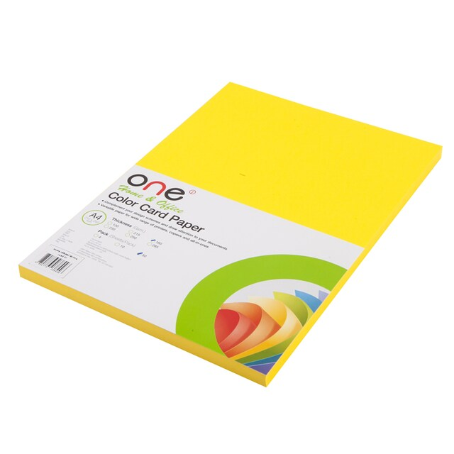 ONE Colour Card Paper 21 160 gsm. Lemon Yellow 50/Pack