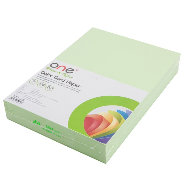 Colour Card Paper A4 180 gsm. Green (200/Pack) ONE