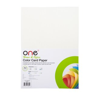 Colour Card Paper No.01 A4 285 gsm. Pearl Cream (4/Pack) ONE