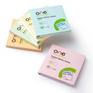 "ONE O7676P-A Sticky Notes 3""x3"" Pastel 5/Pack"