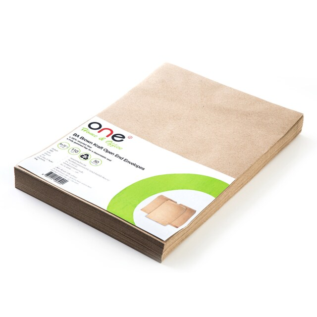 "Brown Kraft Open-End Envelope BA 9x12 3/4"" 110gsm.(50/Pack) ONE"