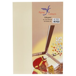 04 Colour Card Paper A4 120gsm. Cream(100Sheets/Pack) ฟลายอิ้ง