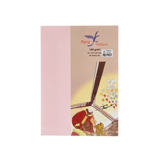 18 Colour Card Paper A4 160gsm. Pink (50/Pack)