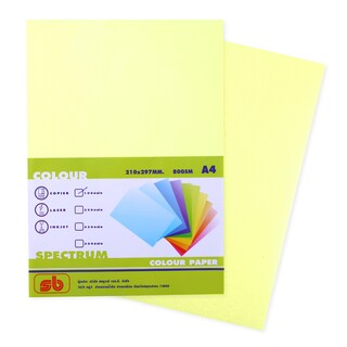 6 Color Copier Paper A4 80gsm Yellow (100/Pack) SB Spectrum